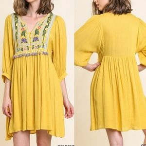Embroidered Yellow Dress S M L